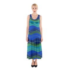 Geometric Line Wave Chevron Waves Novelty Sleeveless Maxi Dress by Mariart
