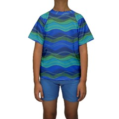 Geometric Line Wave Chevron Waves Novelty Kids  Short Sleeve Swimwear by Mariart