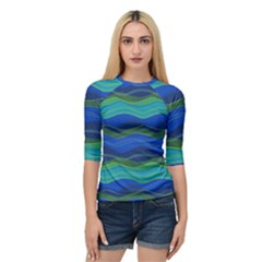 Geometric Line Wave Chevron Waves Novelty Quarter Sleeve Tee by Mariart