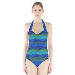 Geometric Line Wave Chevron Waves Novelty Halter Swimsuit