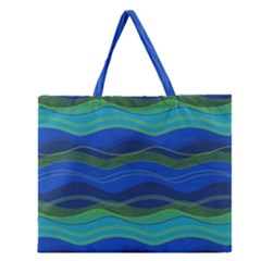 Geometric Line Wave Chevron Waves Novelty Zipper Large Tote Bag by Mariart