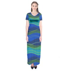 Geometric Line Wave Chevron Waves Novelty Short Sleeve Maxi Dress by Mariart
