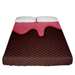 Ice Cream Pink Choholate Plaid Chevron Fitted Sheet (queen Size) by Mariart