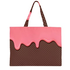 Ice Cream Pink Choholate Plaid Chevron Zipper Large Tote Bag by Mariart