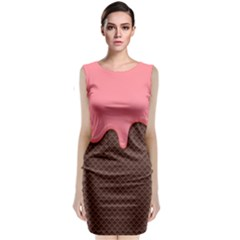Ice Cream Pink Choholate Plaid Chevron Classic Sleeveless Midi Dress by Mariart