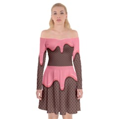 Ice Cream Pink Choholate Plaid Chevron Off Shoulder Skater Dress