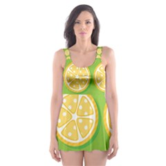 Lime Orange Yellow Green Fruit Skater Dress Swimsuit by Mariart