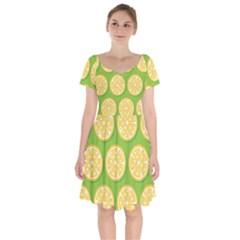 Lime Orange Yellow Green Fruit Short Sleeve Bardot Dress