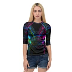 Light Waves Light Red Blue Quarter Sleeve Tee by Mariart