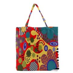 Line Star Polka Dots Plaid Circle Grocery Tote Bag by Mariart