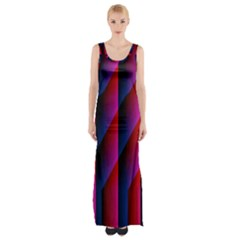 Photography Illustrations Line Wave Chevron Red Blue Vertical Light Maxi Thigh Split Dress