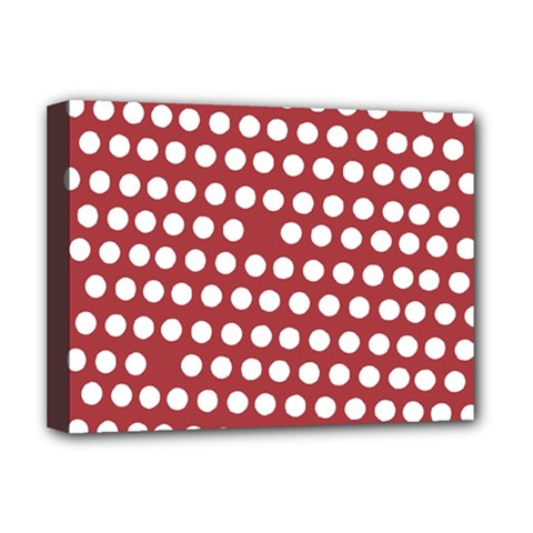 Pink White Polka Dots Deluxe Canvas 16  X 12   by Mariart