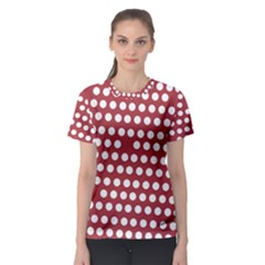 Pink White Polka Dots Women s Sport Mesh Tee by Mariart