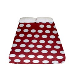 Pink White Polka Dots Fitted Sheet (full/ Double Size) by Mariart
