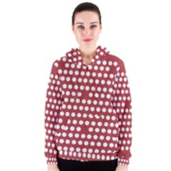 Pink White Polka Dots Women s Zipper Hoodie by Mariart