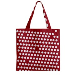 Pink White Polka Dots Zipper Grocery Tote Bag by Mariart
