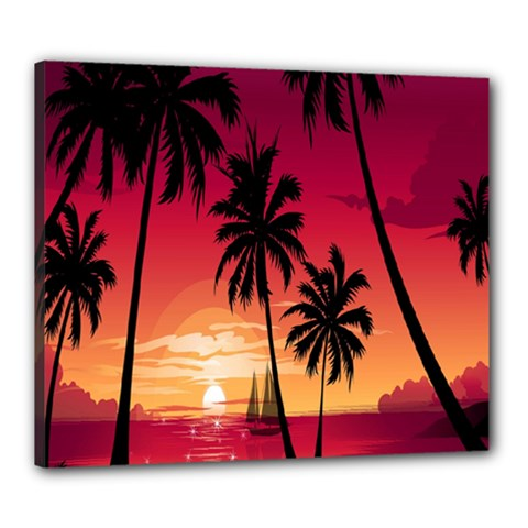 Nature Palm Trees Beach Sea Boat Sun Font Sunset Fabric Canvas 24  X 20  by Mariart
