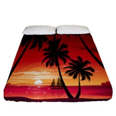 Nature Palm Trees Beach Sea Boat Sun Font Sunset Fabric Fitted Sheet (california King Size)
