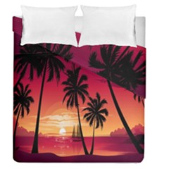 Nature Palm Trees Beach Sea Boat Sun Font Sunset Fabric Duvet Cover Double Side (queen Size) by Mariart
