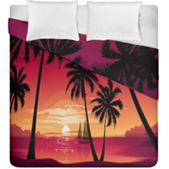 Nature Palm Trees Beach Sea Boat Sun Font Sunset Fabric Duvet Cover Double Side (king Size) by Mariart
