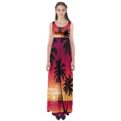Nature Palm Trees Beach Sea Boat Sun Font Sunset Fabric Empire Waist Maxi Dress by Mariart