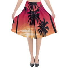 Nature Palm Trees Beach Sea Boat Sun Font Sunset Fabric Flared Midi Skirt by Mariart