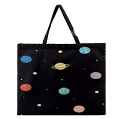 Planets Space Zipper Large Tote Bag by Mariart