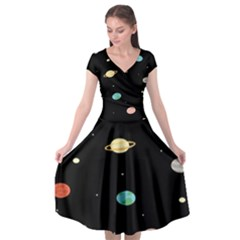 Planets Space Cap Sleeve Wrap Front Dress by Mariart