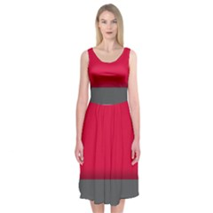 Red Gray Flag Line Horizontal Midi Sleeveless Dress by Mariart