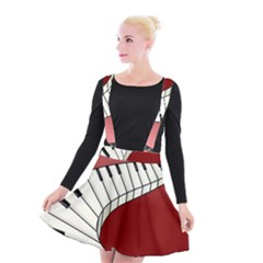 Piano Keys Music Suspender Skater Skirt by Mariart