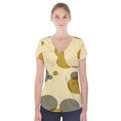 Polka Dots Short Sleeve Front Detail Top by Mariart