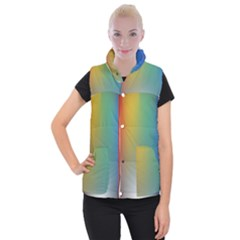 Rainbow Flag Simple Women s Button Up Puffer Vest