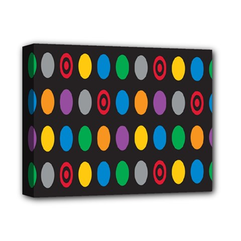 Polka Dots Rainbow Circle Deluxe Canvas 14  X 11  by Mariart
