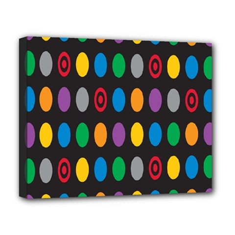 Polka Dots Rainbow Circle Deluxe Canvas 20  X 16   by Mariart