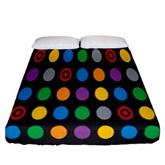 Polka Dots Rainbow Circle Fitted Sheet (california King Size) by Mariart