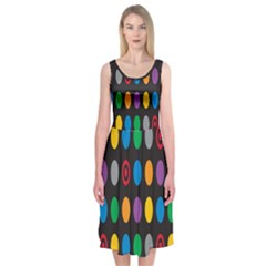 Polka Dots Rainbow Circle Midi Sleeveless Dress by Mariart