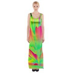 Screen Random Images Shadow Green Yellow Rainbow Light Maxi Thigh Split Dress by Mariart