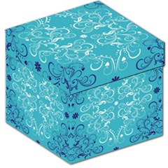 Repeatable Flower Leaf Blue Storage Stool 12   by Mariart