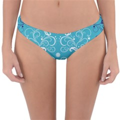 Repeatable Flower Leaf Blue Reversible Hipster Bikini Bottoms by Mariart