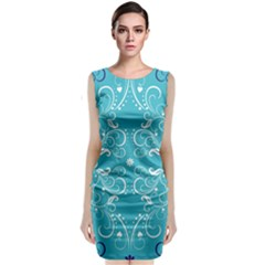 Repeatable Flower Leaf Blue Classic Sleeveless Midi Dress by Mariart