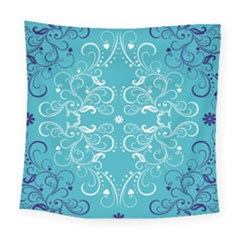 Repeatable Flower Leaf Blue Square Tapestry (large) by Mariart