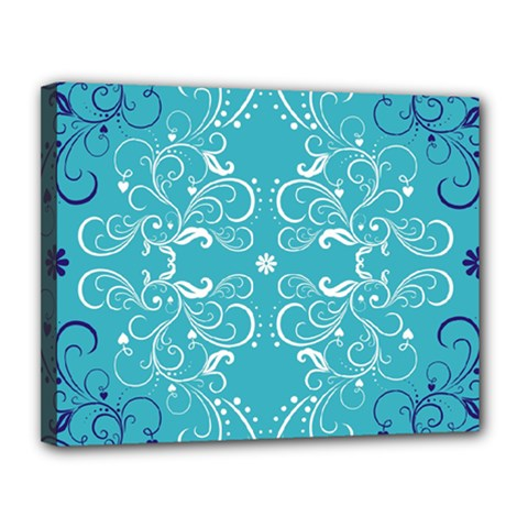 Repeatable Flower Leaf Blue Canvas 14  X 11  by Mariart