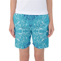 Repeatable Flower Leaf Blue Women s Basketball Shorts by Mariart