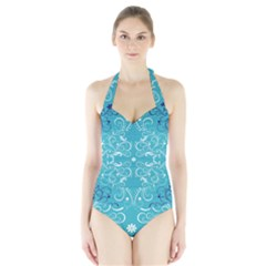 Repeatable Flower Leaf Blue Halter Swimsuit by Mariart