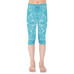 Repeatable Flower Leaf Blue Kids  Capri Leggings  by Mariart