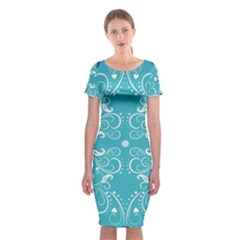 Repeatable Flower Leaf Blue Classic Short Sleeve Midi Dress by Mariart