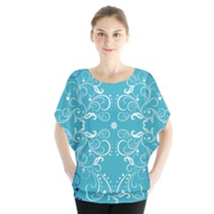 Repeatable Flower Leaf Blue Blouse by Mariart