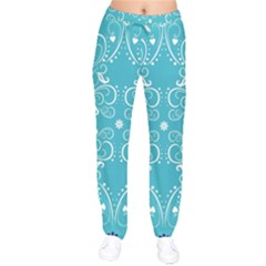 Repeatable Flower Leaf Blue Drawstring Pants by Mariart