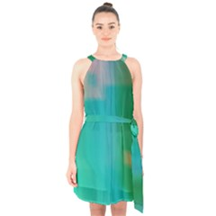 Shadow Faintly Faint Line Green Halter Collar Waist Tie Chiffon Dress