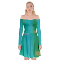 Shadow Faintly Faint Line Green Off Shoulder Skater Dress